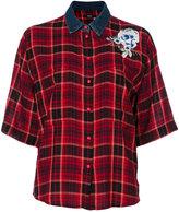 Diesel check flower appliqué shirt - women - Cotton/Viscose - XS