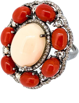 Arthur Marder Fine Jewelry Silver 1.50 Ct. Tw. Diamond & Coral Ring