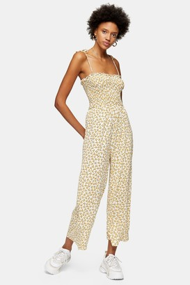 Topshop Yellow Strappy Floral Print Jumpsuit