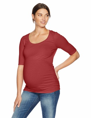 Motherhood Maternity Women's Maternity Elbow Sleeve Scoop Neck Side Ruched Tee Shirt