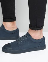 Asos Lace Up Sneakers in Navy With Toe Cap