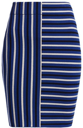 Akris Punto Square Stripe Wool Knit Pencil Skirt
