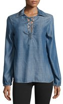 Frame Lace-Up Chambray Blouse, Hadley