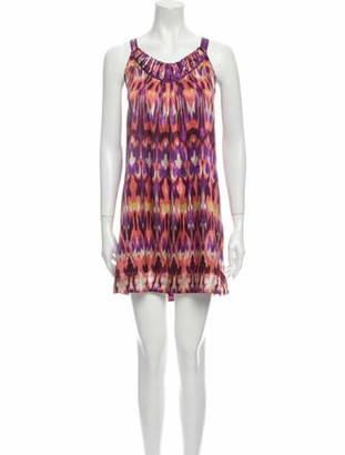 Oscar de la Renta Printed Mini Dress Purple