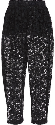 Dolce & Gabbana Cropped Cotton-blend Guipure Lace Tapered Pants
