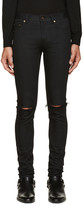 Saint Laurent Black Original Low Waisted Ripped Skinny Jeans