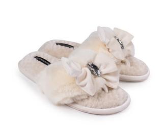 Pretty You London Diana Luxury Jewel Toe Post Slippers In Cream