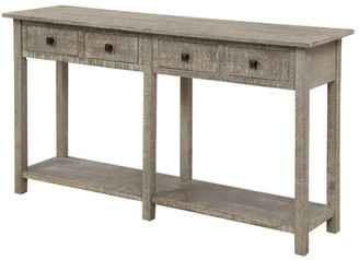 """Gracie Oaks Kasbar 59"""" Solid Wood Console Table Color: Gray Wash"""