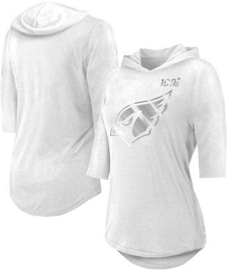 Majestic Women's Threads White Arizona Cardinals NFL 100th Season Platinum Hilo 3/4-Sleeve Hoodie T-Shirt