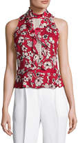 Tracy Reese Women's Silk Floral Print Flounce Blouse
