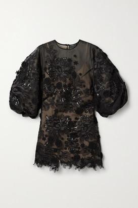 Andrew Gn Appliqued Embellished Silk-blend Tulle Mini Dress - Black