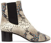 Isabel Marant Danelya Python-effect Leather Ankle Boots - Snake print