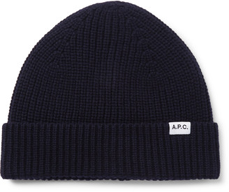 A.P.C. Samuel Logo-Appliqued Ribbed Merino Wool And Cashmere-Blend Beanie