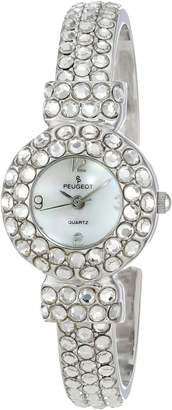 Peugeot Women's Hand Set Crystal Glitz Cuff Bangle Bracelet Jewelry Watch