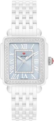 Michele Deco Madison Mid Diamond Watch Head & Bracelet Strap Watch, 16mm