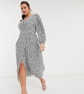 Glamorous Curve midaxi wrap dress in ditsy floral