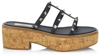 Valentino Rockstud Leather Cork Platform Mules