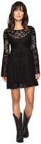 Stetson Black Lace Knee Length Dress