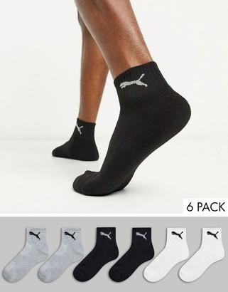 Puma 6 pack quarter socks in black white and gray