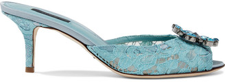 Dolce & Gabbana Keira Crystal-embellished Corded Lace Mules