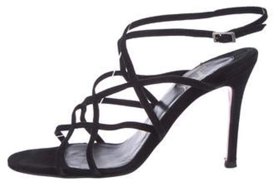 fe5690652fa Suede Caged Sandals Black Suede Caged Sandals
