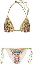 Dolce & Gabbana Printed Triangle Bikini - Yellow