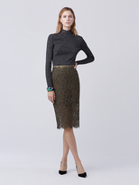 Diane von Furstenberg Glimmer Lace Pencil Skirt