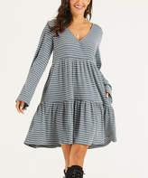 Suzanne Betro Dresses Women's Casual Dresses 101DENIM - Denim Blue & Ivory Stripe Peasant Dress - Women & Plus
