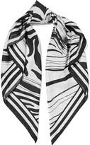 Roberto Cavalli Zebra-print silk-satin twill scarf