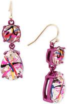 Betsey Johnson Pink-Tone Graffiti-Print Crystal Drop Earrings