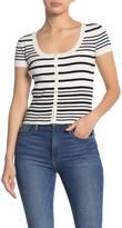 Frame Stripe Print Button Up Sweater