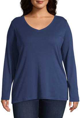 ST. JOHN'S BAY Plus-Womens V Neck Long Sleeve T-Shirt