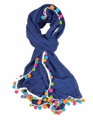 Claudia&Jason Claudia & Jason New Colorful Pom Pom Scarf Wraps Shawl Soft Scarves Wrap Beach Cover Gift (Denim)