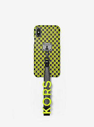 Michael Kors Neon Checkerboard Logo Leather Wristlet Case For iPhone X/XS