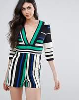 Lavish Alice 3/4 Sleeve Striped Playsuit