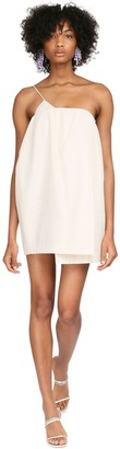 Jacquemus One Shoulder Viscose & Silk Mini Dress