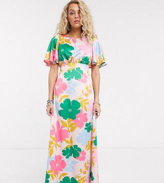 Twisted Wunder flutter sleeve maxi dress in bold floral