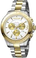 Roberto Cavalli ROUND Chrono Men's Diver's Chronograph Swiss-Quartz Two Tone Stainless Steel Bracelet Watch