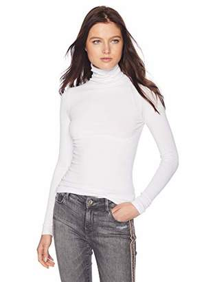 Enza Costa Women's Rib Fitted Long Sleeve Turtleneck Top