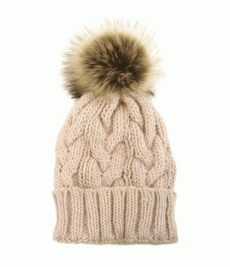 Joy Accessories Cable Knit Pom Pom Hat