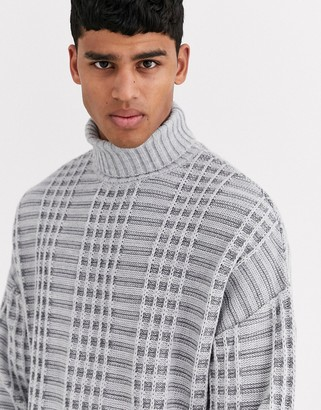 Asos DESIGN oversized sweater with grid texture in gray