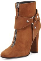 Giuseppe Zanotti Suede Zip-Front Ankle Bootie, Falcone