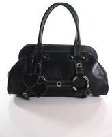 Luella Black Leather Silver Accent Medium Giselle Satchel Handbag