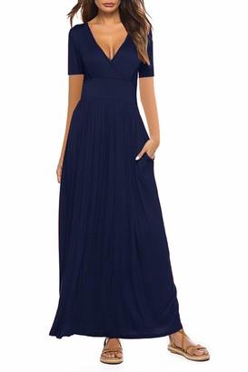 Yidarton Women Maxi Dresses Summer V Neck Short Sleeve Floral Print Wrap Long Dress with Pockets (B-Navy S)