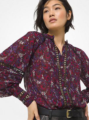 Michael Kors Paisley Georgette and Lace Poet-Sleeve Blouse