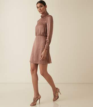 Reiss EMMA BURNOUT SNAKE PATTERN DRESS Bronze