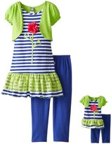 "Dollie & Me Big Girls' ""Shrug Accent"" 2-Piece Outfit with Doll Outfit"