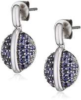 Fiorelli Gold 9ct White Gold Iolite Pave Set Disc Earrings