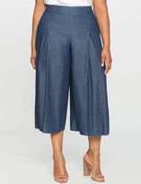 ELOQUII Plus Size Pleated Chambray Culottes