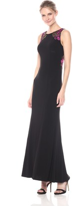 Alex Evenings Women's Long Dress with Embroidered Shoulder and Back Detail